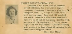 Family Recipe Friday ~ Sweet Potato-Pecan Pie #geneabloggers #genealogy