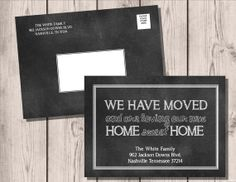 Chalkboard Moving Announcements . We've Moved Postcards . New Home . New Address Cards . Moving Cards  .  Change of Address on Etsy, $10.00