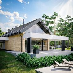 Projekt domu HomeKoncept-66 A G2 108,92 m2 - koszt budowy - EXTRADOM House Front, Countryside, Home Goods, Pergola, Farmhouse, Exterior, House Design, Mansions, Architecture
