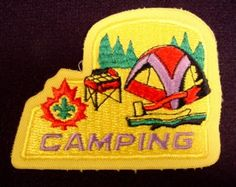 """Patch Badge Boy Scouts Camping, 3 1/2"""" Across, Scouting, Cubs, Beavers, Boy Scouts"""