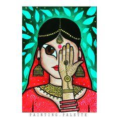 Art Gallery By Karan Nandaniya ( Indian Wall Art, Indian Artwork, Indian Women Painting, India Culture, Galaxy Design, Color Art, Woman Painting, Mandala Art, Strong Women