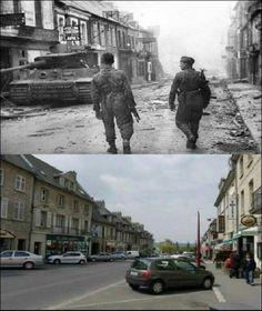 Then & Now: Tiger 212 in Rue Pasteur, Villars Bocage 1944