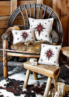 "North Star Christmas Pillow 10"" x 10"""