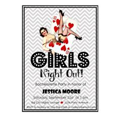 Luck be a LAdy Tonight! Vintage Bachelorette Girls Night Out Party Invitation with Pin Up Girl and Casino Style Poker Theme