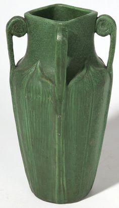 c.1905 - Wheatley Pottery - Arts & Crafts - matte green glaze