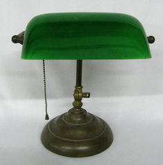 Vintage Green Glass Bankers Lamp Bankers Desk Lamp, Green Library, Cove Lighting, Vintage Green Glass, Vintage Lamps, Lamp Bases, Lamp Design, Table Lamp, Lights