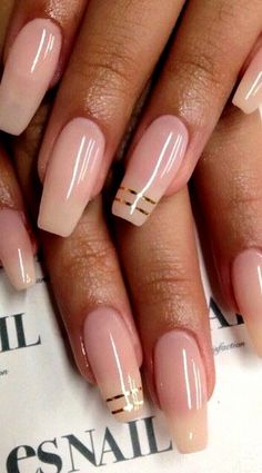 Nude coffin nails with gold striping