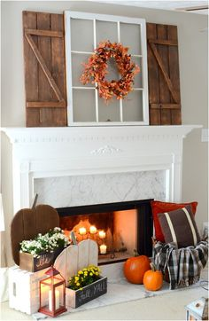 Get some amazing ideas and inspiration for adding farmhouse fall decor into your home to help celebrate this joyous season. Pallet Ideas Easy, Rustic Fall Decor, Wood Pumpkins, Funky Junk Interiors, Wood Shutters, Wood Home Decor, Porch Decorating, Decorating Ideas, Decor Ideas