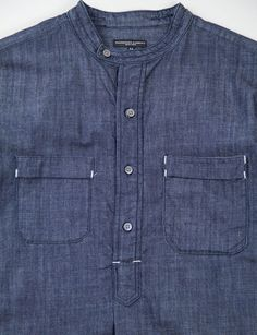 Engineered Garments - denim collarless, pullover shirt..