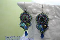 Fairy Sprinkled Cobalt blue teardrop Jasmin Earrings seed bead woven Chandelier  Copyright©createdbycarla