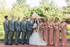 Sparkly rose gold/pink bridesmaids and gray groomsmen