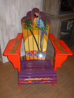 Jimmy Buffett's hotel sells these for $450.00 Hand Painted Furniture, Funky Furniture, Recycled Furniture, Furniture Makeover, Pallet Painting, Chair Painting, Painted Stools, Outdoor Chairs, Adirondack Chairs