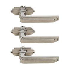 Original Set of Brushed Nickel Art Deco Door Pulls/Handles - Brushed Nickel Art Deco door handles - Art Deco Design, Retro Design, Door Pull Handles, Door Pulls, Door Knobs, Drawer Pulls, Art Nouveau, Art Deco Door, Art Deco Bathroom