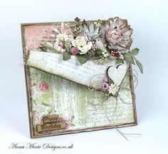 Amd Scrapbooking, Scrapbook Cards, Tarjetas Pop Up, Shabby Chic Cards, Engagement Cards, Shaped Cards, Pretty Cards, Card Tags, Flower Cards