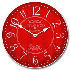 "Harbor Red Clock starts at $44 for our 12"" size, and can be customized for only $10 more!  Ships free. #vintage #vintageclocks #largewallclocks #customclocks"