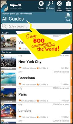 Discover the most popular destinations of the world with tripwolf, your personal travel guide! Follow the recommendations of the tripwolf community and get tips from experienced travel writers. The app includes maps (also available offline!), an Augmented