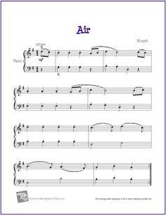 Air (Mozart) | Free Sheet Music for Easy Piano