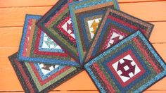 Six Churn Dash Placemats by EndlessHoursQuilting on Etsy, $115.00