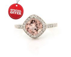 Natural  7mm  Antique Square Cushion Pink  Morganite  Solid 14K White Gold Diamond engagement antique Style  Halo Ring  ****Gem877 by GNGJewel on Etsy https://www.etsy.com/listing/190271427/natural-7mm-antique-square-cushion-pink