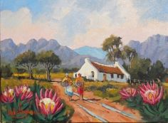 Purchase artwork Cape Dutch Farmhouse in the Mountains - Oil Painting by South African Artist Willie Strydom Protea Art, Paintings For Sale, Oil Paintings, Cape Dutch, African Artwork, Landscape Paintings, Landscape Art, South African Artists, Art Portfolio