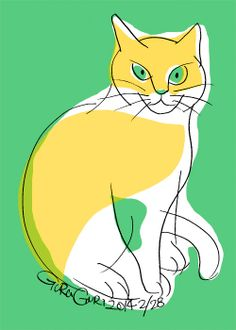 GraGuri #004 It is the series of the illustration of the cat which Japanese illustrator Toshinori Mori drew. I try that I compose it of a simple line and color.