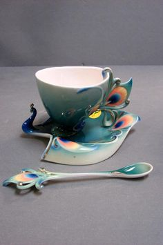 Franz Cup Saucer - Franz Peacock Cup, Saucer, & Spoon