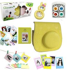 CLOVER Accessory Bundles Set For Fujifilm Instax Mini 8 Instant Camera Yellow Heart Case Bag Album Rabbit SelfPortrait Mirror CloseUp Lens Filter Photo Frame Decor Sticker Wall Hang Frame ** You can get additional details at the image link.