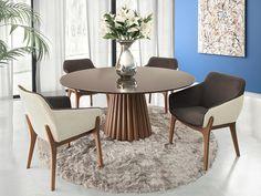 Mesa Oslo e Cadeira Louise        MEDIDAS:    Mesa  Largura:140 cm  Profundidade:140 cm  Altura:75 cm      Cadeira  Largura:63 cm  Profundidade:60 cm  Altura:85 cm