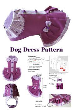 Pattern dog dress Small pet dog dress Pattern pet clothes Dog clothes pattern for XS size dog #petclothes #dogclothes #dogdresses #pattern  #pdfpattern #sewingpattern #smalldogfashion