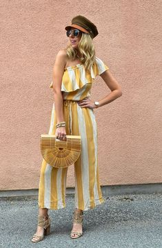 SPRING JUMPSUITS - Jaclyn De Leon Style + striped bohemian jumpsuit + boho chic + spring style + summer outfit + casual outfit + festival style + american eagle + #aeostyle #bohemian #ootd #AExME