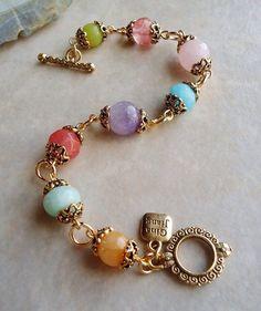 Multi Gemstone Bracelet with Amethyst, Jade, Quartz. Gemstone Bracelets, Handmade Bracelets, Gemstone Jewelry, Handmade Wire, Chain Bracelets, Stackable Bracelets, Amethyst Bracelet, Handmade Beaded Jewelry, Flower Jewelry