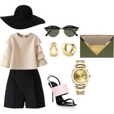 #elegant street style by seldy-enes on Polyvore featuring Yves Saint Laurent, Giuseppe Zanotti, Dareen Hakim, Rolex, BERRICLE, Monki and Ray-Ban