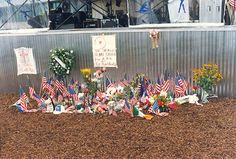 Flowers and Flags at Centennial Park after the bombing, Atlanta 1996 Olympics