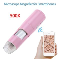 Very cool PINK microscope magnifier phone accessory gadget. Take a closer look at things with your phone.