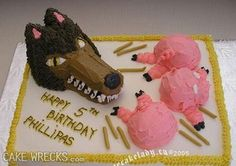 """On second thought, maybe """"The Three Little Pigs"""" wasn't a good idea for 5-year-old Phillipas birthday cake. Yes, the Big Bad Wolf chasing his bacon will probably cause little kids nightmares. Of course, in the original version, he eats the first 2."""