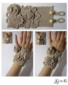 embellished crochet wristers with two different closure settings. Nice work-- link is not in english.: