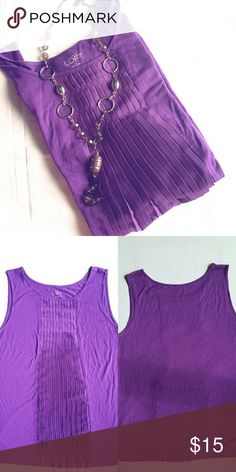 Ann Taylor Purple top Nice Ann Taylor purple top. Bought from another posher, but it doesn't fit. Very nice top though. Ann Taylor Tops Tank Tops