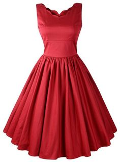 scalloped neckline,vintage style red dress