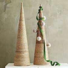 Arbol de cono para navidad. Sencillo, rustico y hermoso
