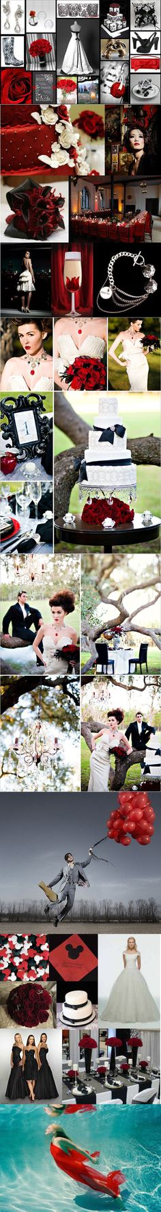 Black, red, and white wedding ideas