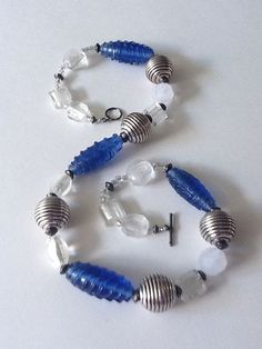 Twist Oval Glass-Blue with Round Silver Metallic & Bead Glass Foil Flat Silver Necklace Beaded Bracelets, Bead Necklaces, Glass Beads, Womens Fashion, Metal, Rings, Silver, Woman, Jewelry