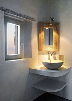 Corner Bathroom Sink Ideas - 19 Corner Bathroom Sink Ideas , Tiny Bathroom with Corner Sink Corner Bathroom Sink Minimalist Bathroom Ideas Unique Bathroom Sinks, Bathroom Sink Design, Concrete Bathroom, Amazing Bathrooms, Bathroom Remodeling, Remodeling Ideas, Bathroom Ideas, Bathroom Designs, Corner Bathroom Sinks