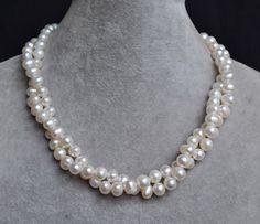 white pearl necklaces 16 inches 8-9mm 2rows por weddingpearl