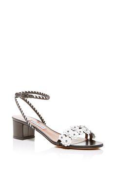 Black & White Patent Calf Foliw Sandal - Tabitha Simmons Spring Summer 2016 - Preorder now on Moda Operandi