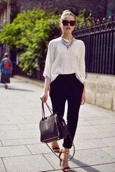 chic top and dress pants with with ankle strap sandals