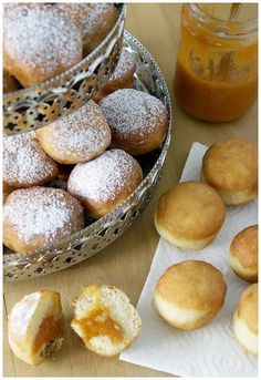 Austrian doughnut that is typically filled with apricot jam and topped with powdered sugar    #austria #sweets #tradition #jam #doughnut #apricot #carneval #sugar