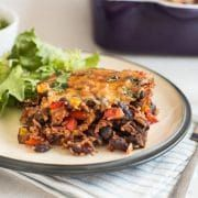 One pot vegetarian chilli and rice bake - Amuse Your Bouche