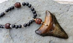 Megalodon Shark Tooth Necklace with Labradorite and Wood Beads for Men by SolOpsArt on Etsy