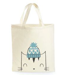 Cat tote bag  Tote bag  Cat book bag  School bag  by minifelts