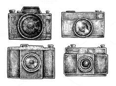 Vintage cameras set by Eugenia Hauss Design on Creative Market